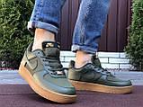Чоловічі кросівки Nike Air Force Gore Tex темно зелені, фото 5