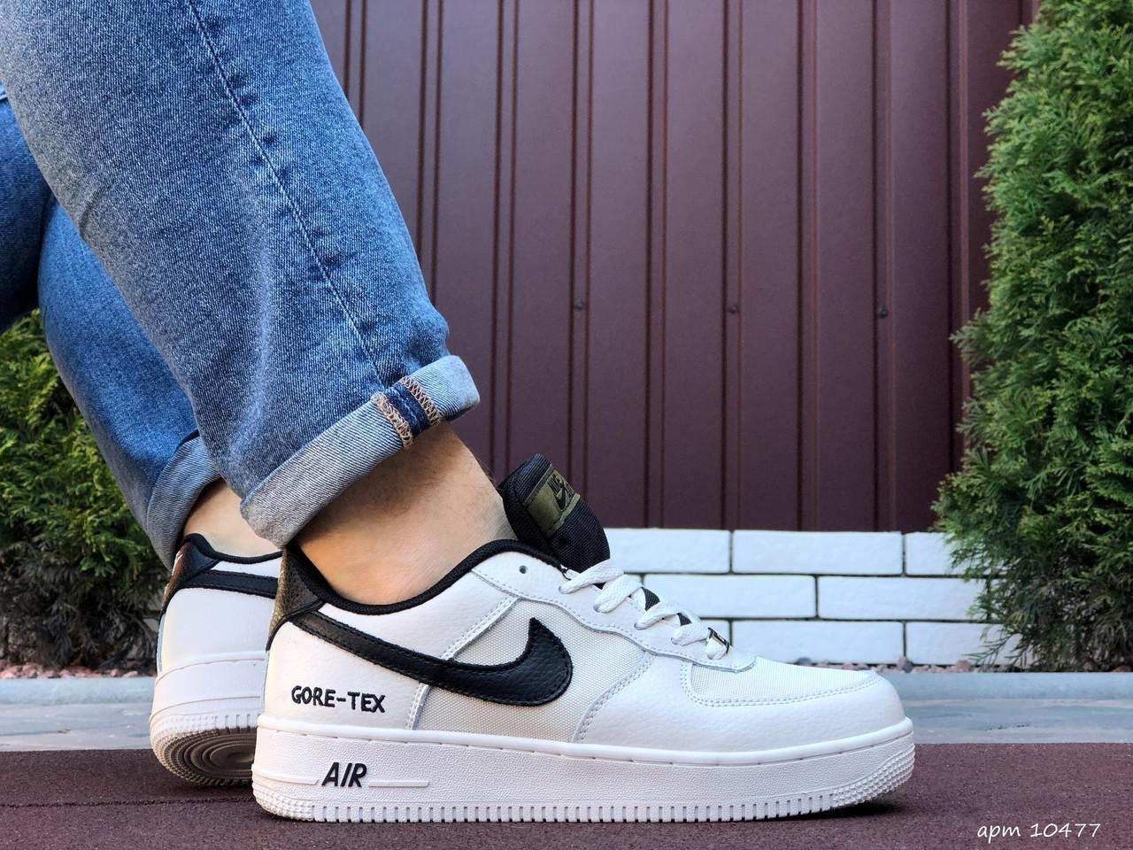 Мужские кроссовки Nike Air Force Gore Tex белые с черным