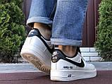 Чоловічі кросівки Nike Air Force Gore Tex білі з чорним, фото 2