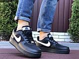 Мужские кроссовки Nike Air Force Gore Tex чёрные с белым, фото 4