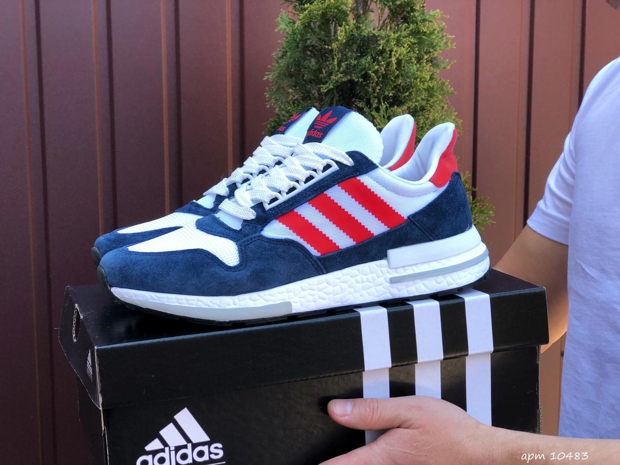 Чоловічі кросівки Adidas Zx 500 Rm білі з синім і червоним