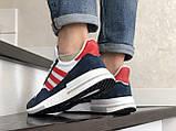 Чоловічі кросівки Adidas Zx 500 Rm білі з синім і червоним, фото 2
