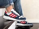Чоловічі кросівки Adidas Zx 500 Rm білі з синім і червоним, фото 3