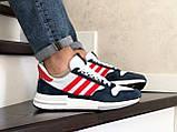 Чоловічі кросівки Adidas Zx 500 Rm білі з синім і червоним, фото 4