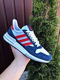 Чоловічі кросівки Adidas Zx 500 Rm білі з синім і червоним, фото 5