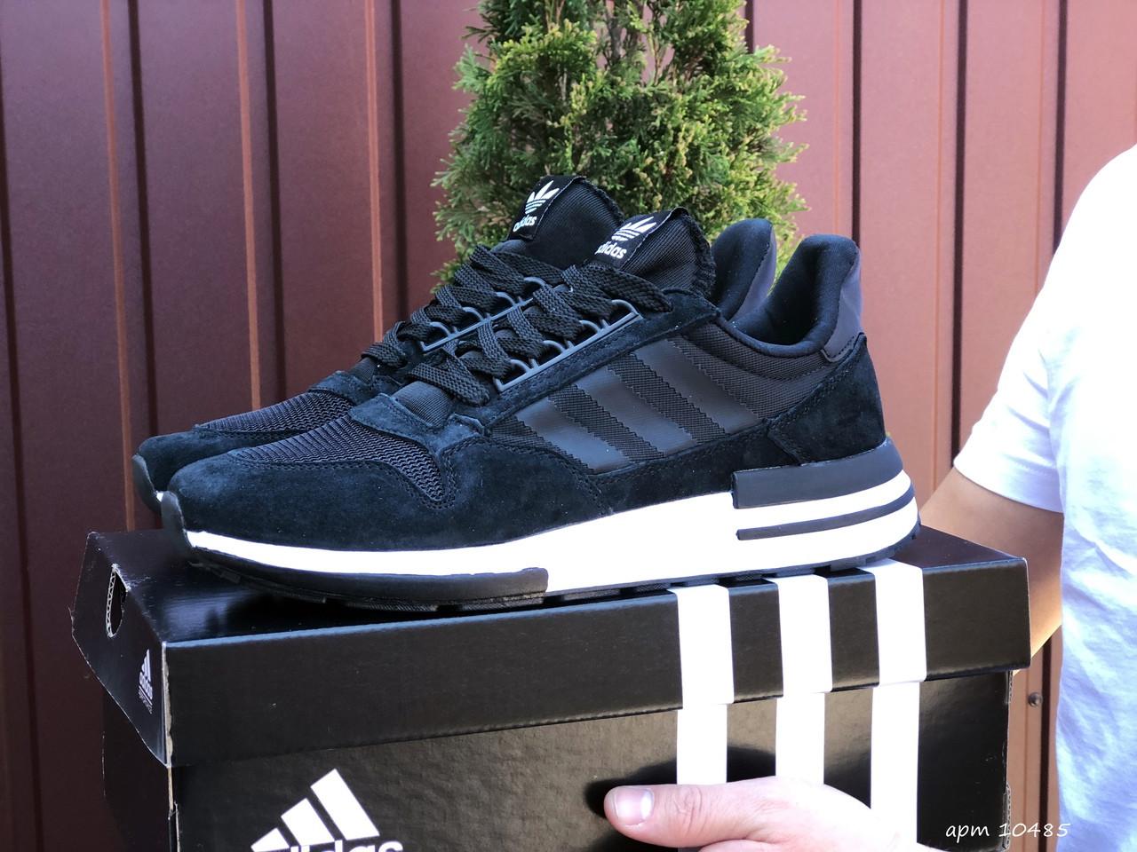 Чоловічі кросівки Adidas Zx 500 Rm чорні на білому