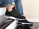 Чоловічі кросівки Adidas Zx 500 Rm чорні на білому, фото 3