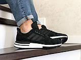 Чоловічі кросівки Adidas Zx 500 Rm чорні на білому, фото 4