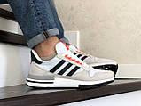 Чоловічі кросівки Adidas Zx 500 Rm сірі, фото 4