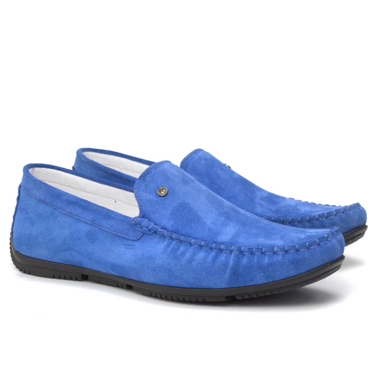 Голубые летние мужские мокасины замшевые обувь летняя Rosso Avangard SE Alberto M4 Blu