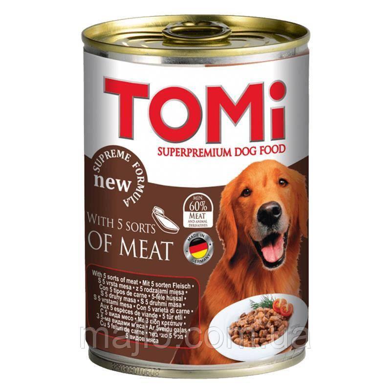 Консервы Tomi Superpremium 5 видов мяса для собак,1,2кг