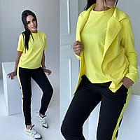 Женский летний спортивный костюм-тройка. Размер: 42-44, 46-48. Цвет: желтый, голубой.