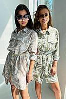 Модное платье-рубашка из льна с поясом 42-48 размер разные расветки