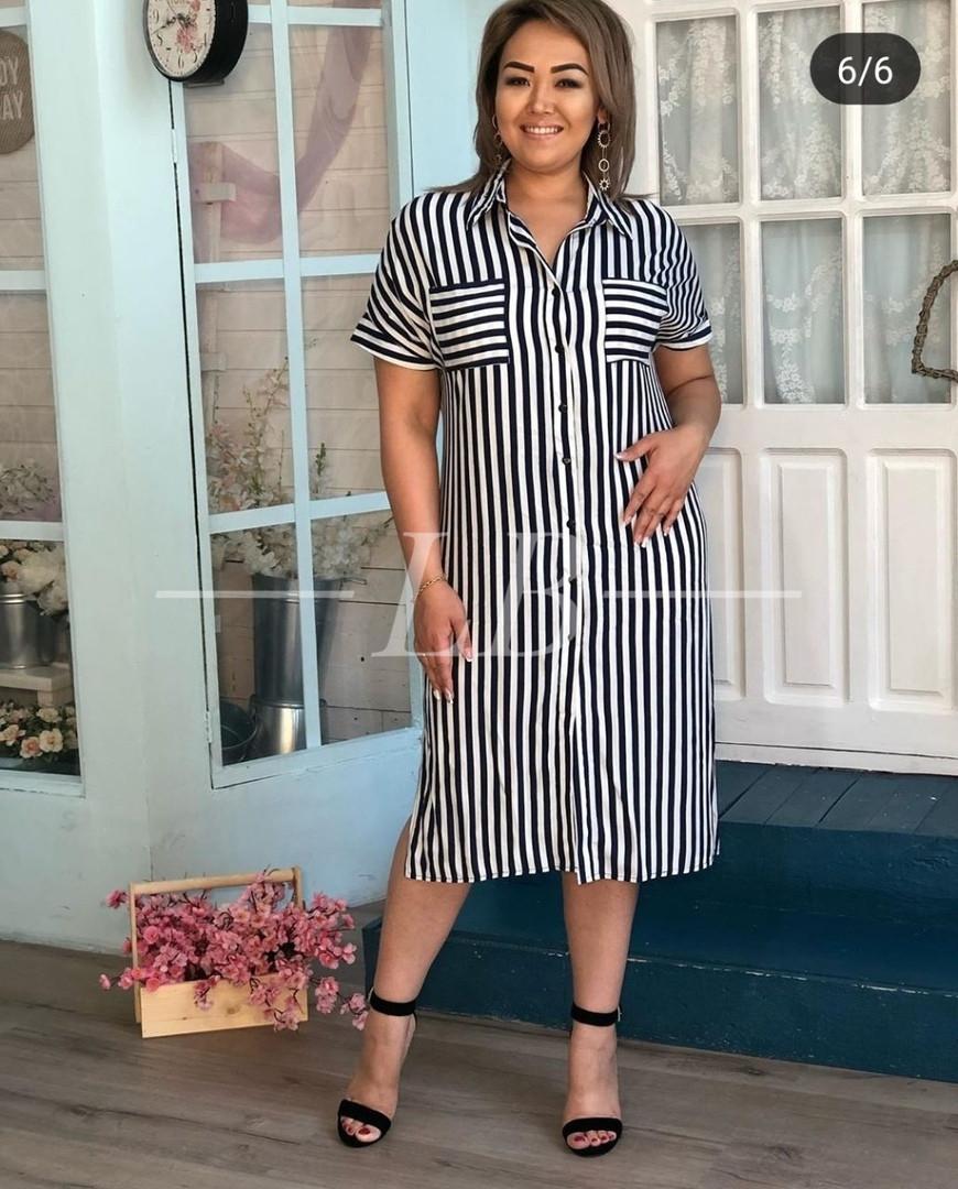 Летнее платье-рубашка в полоску ровного кроя тонкая ткань, р.48/50 Код 049L