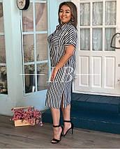 Летнее платье-рубашка в полоску ровного кроя тонкая ткань, р.48/50 Код 049L, фото 2