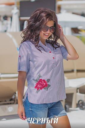 Женская летняя блуза для повседневного образа в мелкую полоску, черного цвета, р.48-50 Код 042L, фото 2