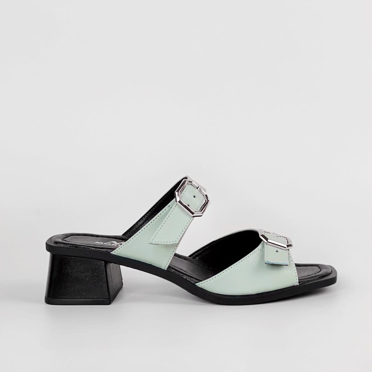 Сабо женские кожаные мятные на каблуке с пряжками MORENTO