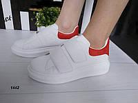 Жіночі кросівки кріпери білого кольору на липучках, фото 1