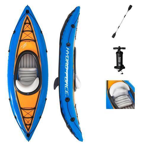 Одноместная надувная лодка каяк Bestway 65115 с веслами, ножным насосом