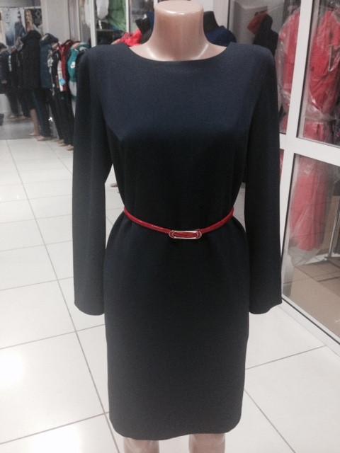 Платье темно-синее прямое