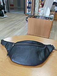 """Мужская поясная сумка из мягкой телячьей кожи от ТМ""""ArtMar"""" / 19-33x15.5x1 см / цвет черный"""