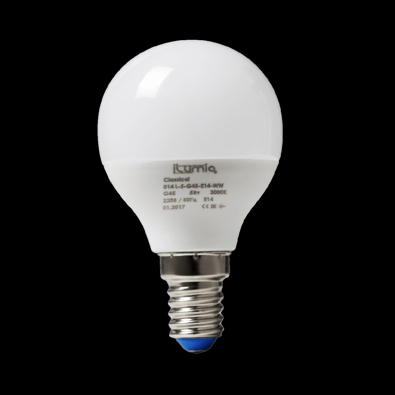 Лампа світлодіодна LED E14 5W 3000K Ilumia 014 серія G45