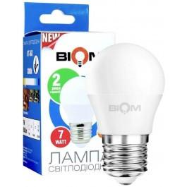 Лампа світлодіодна LED E27 7W 3000K 900lm BIOM BT-563 G45