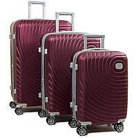 Комплект из трех дорожних чемоданов, ABS-пластик, цвет бордовый (8342 wine-red)