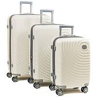 Комплект из трех дорожних чемоданов, ABS-пластик, цвет белый (8342 white)