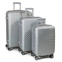 Комплект из трех дорожних чемоданов, ABS-пластик, цвет серый (8342 grey)