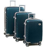 Комплект из трех дорожних чемоданов, ABS-пластик, цвет зеленый (8342 green)