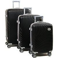 Комплект из трех дорожних чемоданов, ABS-пластик, цвет черный (8342 black)