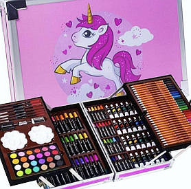 """Детский набор художника для творчества """"Единорог"""" 145 предметов в алюминиевом чемодане, розовый"""