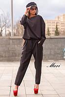Костюм женский, стильный,  черный, 1207-003
