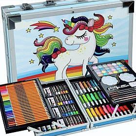 """Детский набор художника для творчества """"Единорог"""" 145 предметов в алюминиевом чемодане, голубой"""