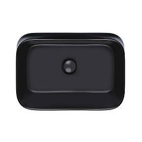Раковина-чаша Qtap Scorpio 550х390х120 Matt black с донным клапаном QT14112243MB