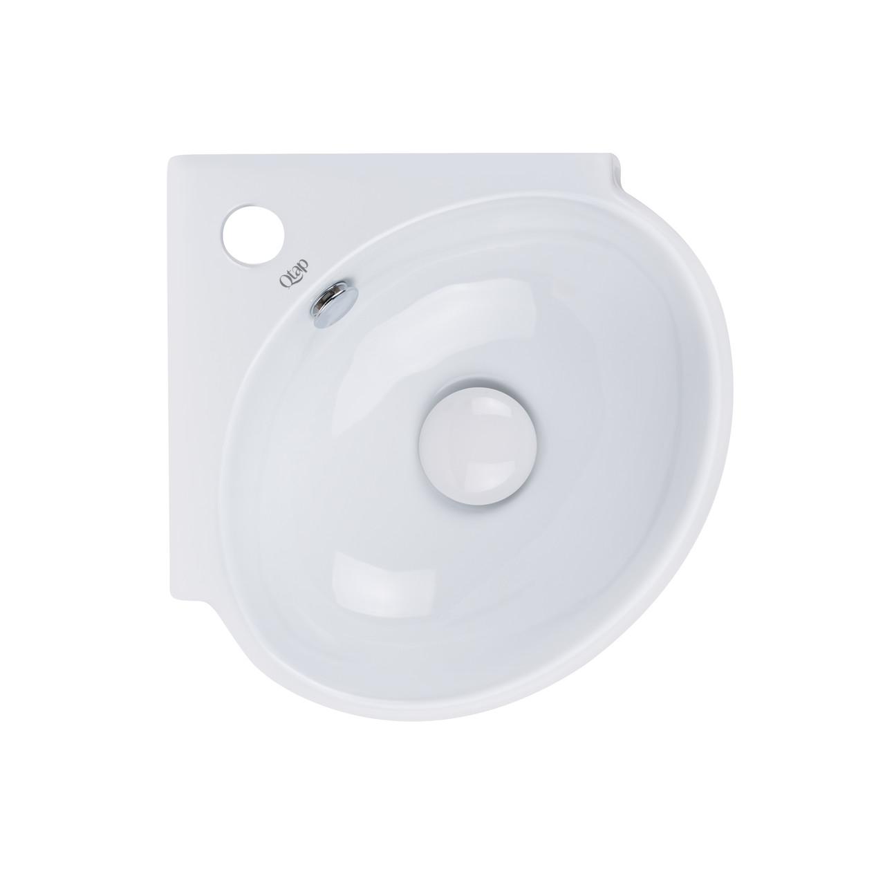 Раковина Qtap Leo 390x365x130 White с донным клапаном QT11115010W