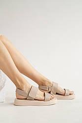 Женские босоножки кожаные летние бежевые Emirro 1057-505