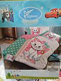 Комплект постільної білизни дитячий Байка, Фланель Кішечка в окулярах Рожевий колір полуторний розмір, фото 9