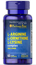 Аминокислоты Puritan's Pride L-Arginine L-Ornithine L-Lysine (1447 mg / 900 mg / 1200 mg) 60 Tablets