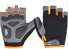 Перчатки для тренажерного зала велосипеда Hotllr L безпалые черный с оранжевым