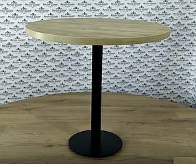 Стол обеденный круглый Тренд 2 каркас черный бархат, столешница ДСП Дуб Античный D800 мм (Металл дизайн)