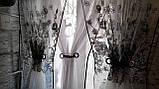 Готова Фіранка кухонні Тюль + 2 штори Органза + Шифон Колір Блакитний, фото 8