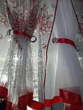 Готова Фіранка кухонні Тюль + 2 штори Органза + Шифон Колір Блакитний, фото 9