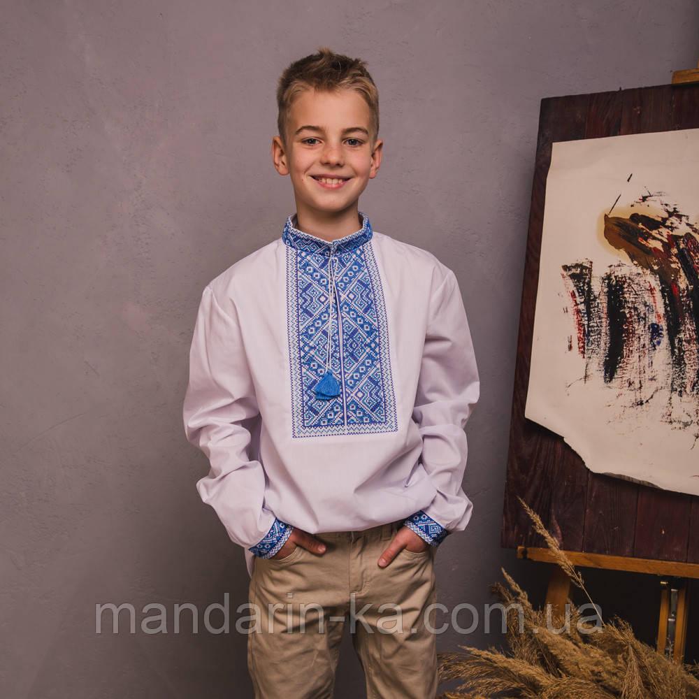 Подростковая вышиванка с синей вышивокой