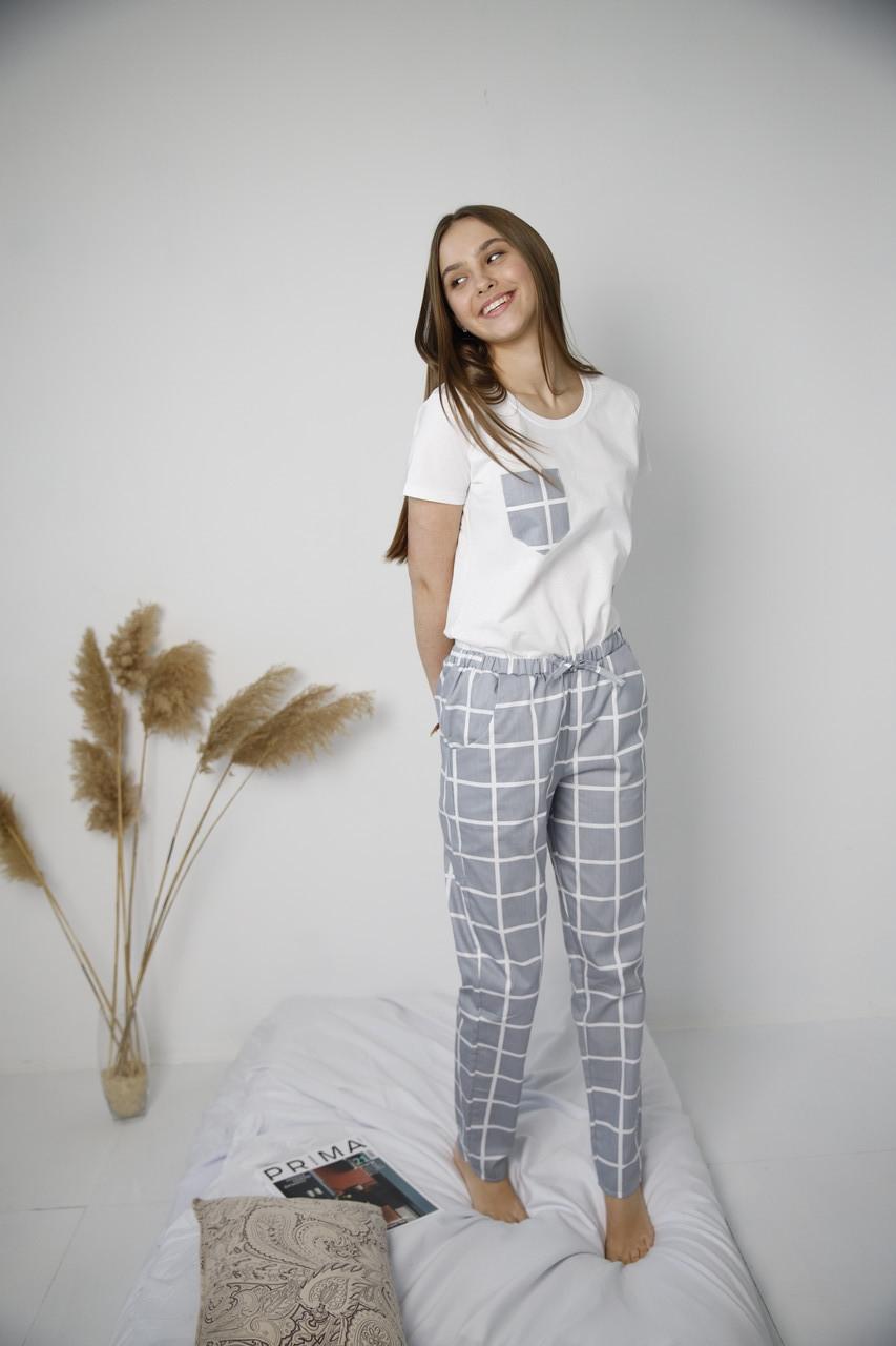 Домашний костюм-пижама хлопковая,  серая в клетку, футболка и штаны