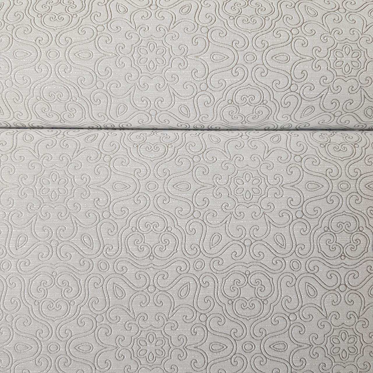 Обои метровые виниловые на флизелине Marburg Villa Lombardi вензеля завитки восточный рисунок серый с серебром