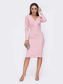 Плаття облягаючого силуету з креп-дайвінгу колір рожевий Розміри 44,46,48