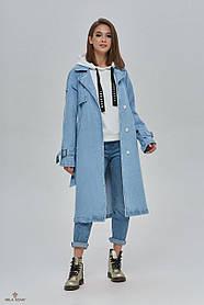 Модный джинсовый плащ на кнопках с поясом, размер 46, 48