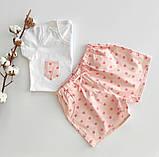 Домашний костюм-пижама хлопковый, в розовые сердечка, футболка и штаны, фото 6